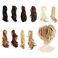 Sexy_Forever Adjustable Shape Style Claw Pony Tail Hairpiece Layered Jaw Claw Synthetic Ponytail Clip on Hair Extensions