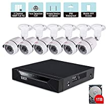 [Expandable System] Security Camera System,Tonton 8CH 1080P Video Security System with 1TB HDD,4pcs 2.0MP Indoor/Outdoor Waterproof Cameras,100ft Night Vision,Plug&Play,Easy RemoteViewing