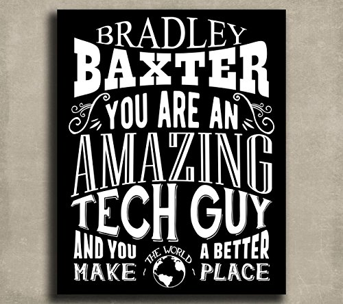 Amazing Tech Guy Custom Plaque Tin Sign Gift For Information Technology IT Computer Programmer Typography Personalized Metal Art Print 1169