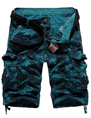 Menschwear Hombres Bermuda Cortos Pantalones Cargo Verano Cortos Deporte Shorts Playa Cortos Multi-bolsillo con cinturón (38,Azul)