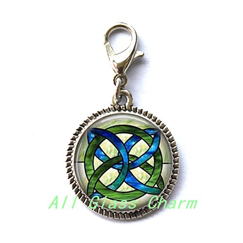 (Charming Zipper Pull,Beautiful Zipper Pull,CELTIC WEDDING Jewelry - Stained Glass Green and Blues Celtic Knot - Celtic Knot Zipper Pull - Irish Jewellery - Celtic Bridal Jewelry-w115)