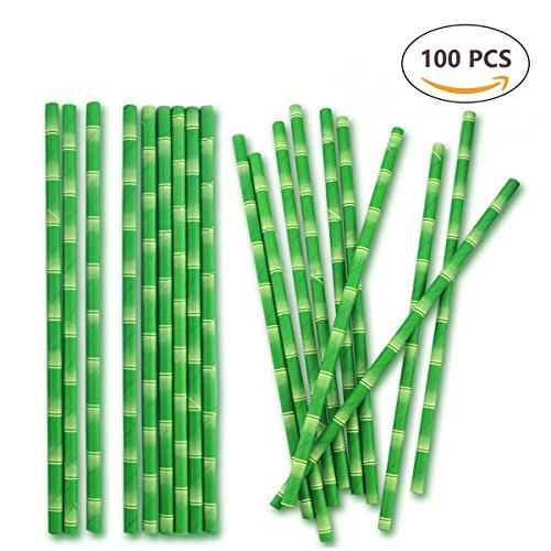 Biodegradable Paper Straws 100pcs Bamboo Drinking Straws for Party Drinks Decoration by - Tiki Jungle