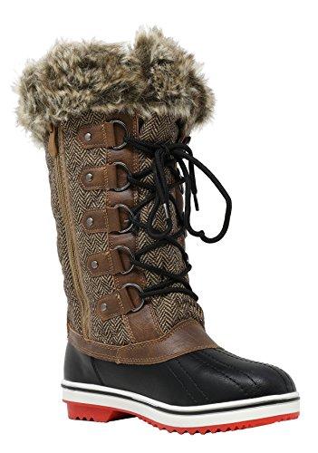 DREAM PAIRS Frauen Schweizer Mid Kalb wasserdicht Winter Snow Boots Braun