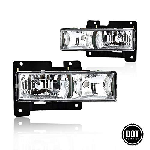 Replacement Headlights Assembly Pair Set With Crystal Clear Performance Lens For Chevy Blazer Suburban Tahoe GMC Yukon Pickup Truck Replace # 15034929 15034930