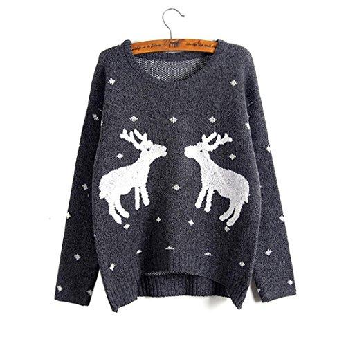 c29659e6ce805 ... Pullover Jacke Kleine Frauen-weihnachts-rentier-anzug Frauen Gestickte  Zwei Grey Hirsche ...
