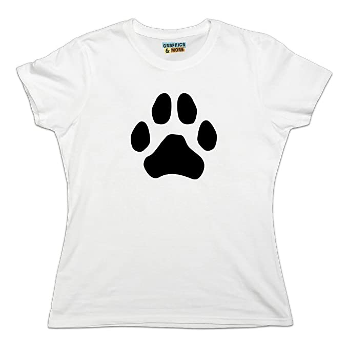 9d0cfad3920d Amazon.com: Paw Print Dog Cat White on Black Novelty T-Shirt - White ...