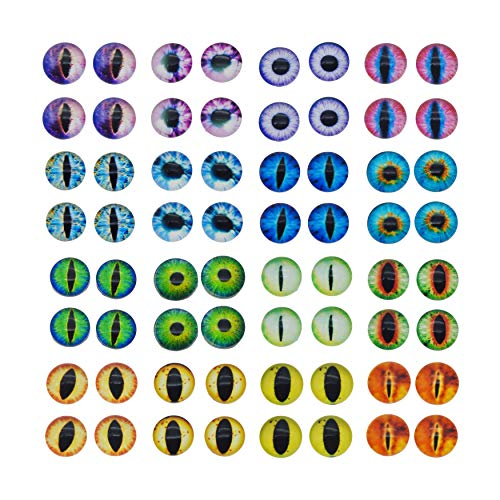 Halloween Contact Lenses Prescription-only (Glass Dragon Cat Eye Flatback Dome Cabochon for Jewelry or Doll Eyes Making)