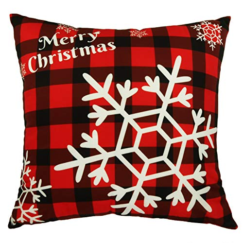 Daptsy Christmas Throw Pillow Cover Single Checkered Pillow Covers Snowflake Decorative Red Pillow Case 18x18inch…