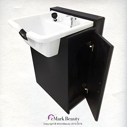 White Square ABS Plastic Beauty Salon Shampoo Bowl Floor Cabinet w/ Storage TLC-W22-FC