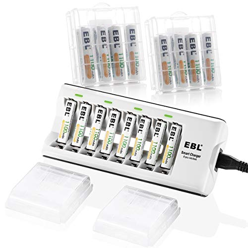 EBL AAA Batteries Rechargeable 16-Packs (ProCyco Rechargeable) and 8Bay ETL AA AAA Battery Charger by EBL