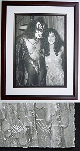 Cher and Gene Simmons - James Fortune Limited Edition Fine Art Giclee Lithograph Photo Print - Mahogany Frame - measures 22x28 inches - Custom Frame