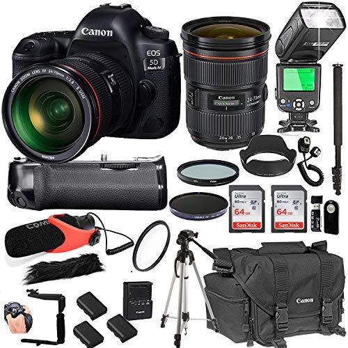 Canon EOS 5D Mark IV with 24-70mm f/2.8 L II USM Lens + 128GB Memory + Canon Deluxe Camera Bag + Pro Battery Bundle + Power Grip + Microphone + TTL Speed Light + Pro Filters,(23pc Bundle) ()