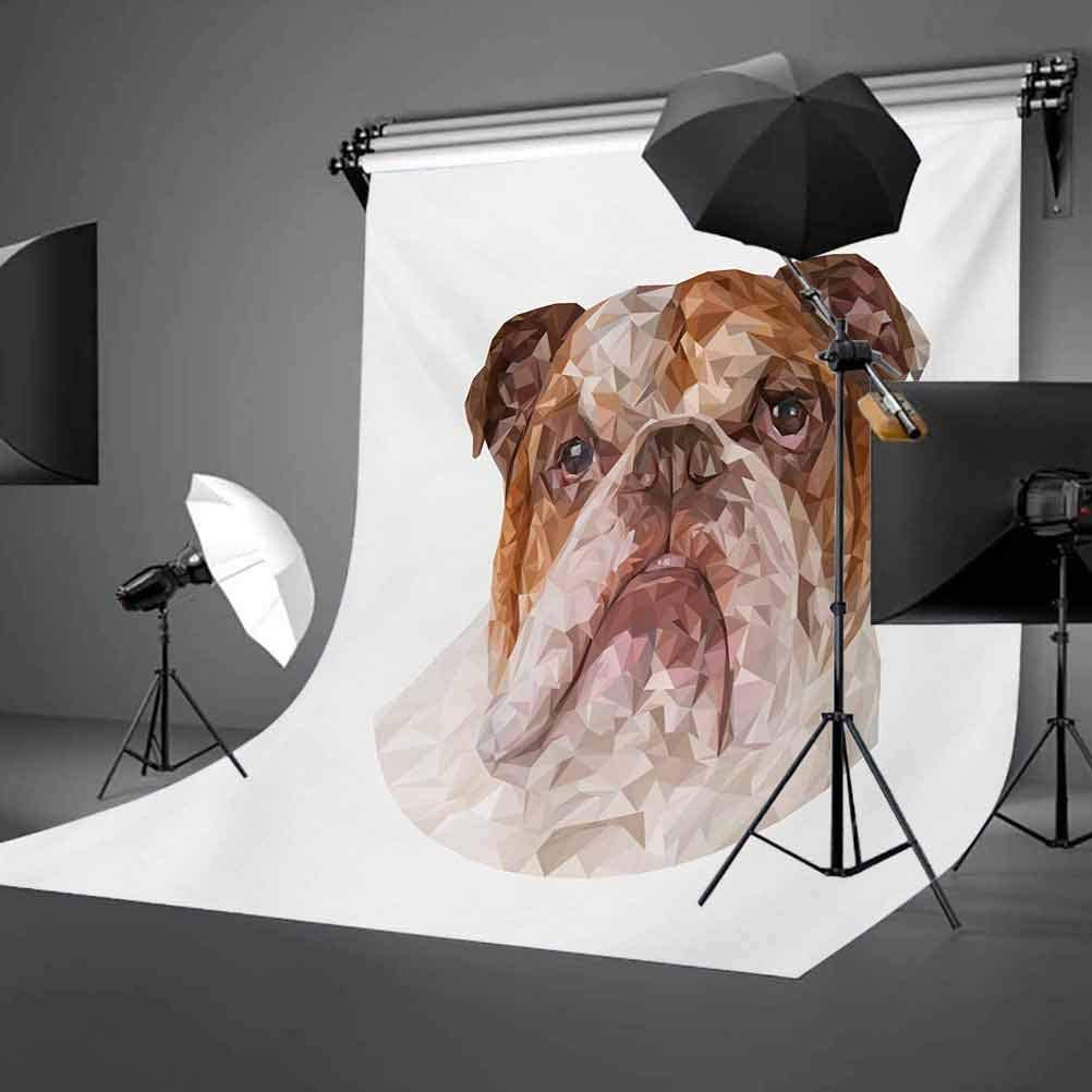 10x12 FT Photography Backdrop Polygonal Bulldog Design with Geometric Triangles Abstract Animal Drawing Background for Kid Baby Boy Girl Artistic Portrait Photo Shoot Studio Props Video Drape Vinyl