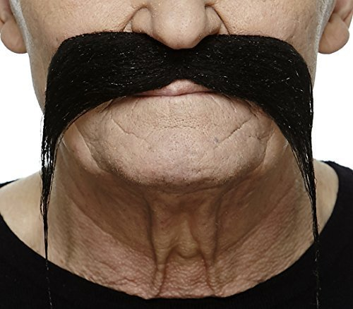 Biker black fake mustache, self adhesive - Facial Hair Biker Moustache
