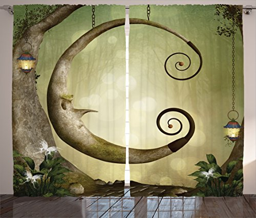 Hanging Sanctuary Lamp (Ambesonne Cartoon Decor Collection, Forest Secret Swing Old Tree Curly Half Moon Shaped Lamps and Butterflies Lights Image, Living Room Bedroom Curtain 2 Panels Set, 108 X 84 Inches, Khaki Olive)