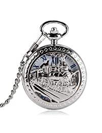 Silver Pocket Watch,Tone Train Front Locomotive Engine Design Pocket Watch,Pendant Mechanical Pocket Watch Gift - WuHu Ren Store