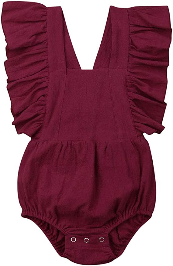 Canis Baby Girl Twins Butterfly Sleeve Backless Ruffle Romper Bodysuit Jumpsuit Sunsuit