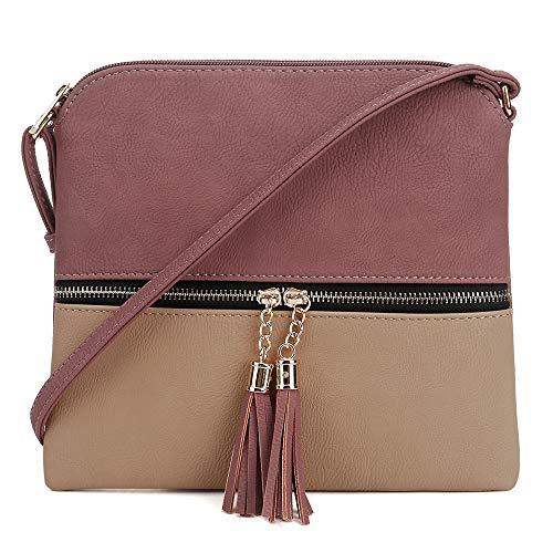 (SG SUGU Lightweight Medium Crossbody Bag with Tassel and Zipper Pocket (Mauve/Taupe))
