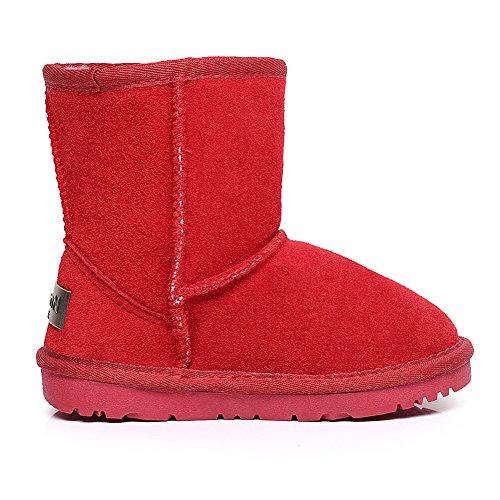 La Classico Ragazzi Comfort Scamosciato Neve Rosso Stivali Polpaccio Shenn Ragazze Metà Pelle Zfqw8w