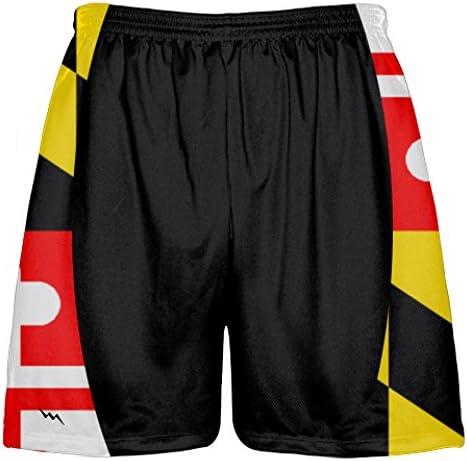Red Youth DC Flag Shorts Washington DC Athletic Lacrosse Shorts Youth
