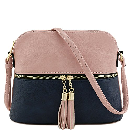 Tassel Zipper Pocket Crossbody Bag (Blush/Navy)