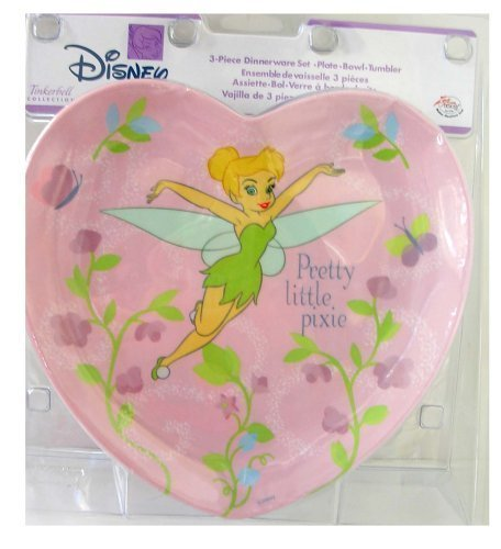 Disney Princess Tinker Bell Dinner set : 3 Pcs Heart Shape Dinnerware