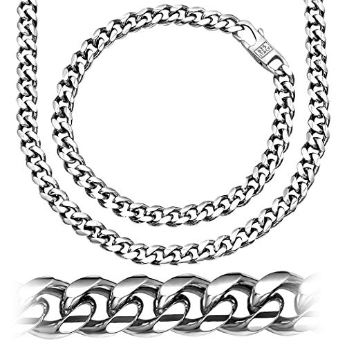 Religious Designs Jewelry - Sterling Manufacturers Alluring Miami Cuban Link Chain Bracelet for Men, 925 Sterling Silver Jewelry with Secure LinxLock Design, Platinum Plated 6.19 MM, 18 Inches, Made in Italy