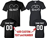 CRAZYDAISYWORLD Beast Beauty Mouse EarCustomized Text Name Design Couple T Shirt Size Men XXL Women XXL