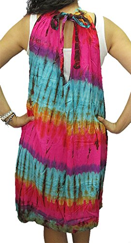 Knee Shift Dye Neck Sleeveless Women's Length Dress Tie TieDye High q4RHfXw