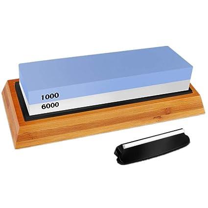 Piedra de afilar, afilado de piedra al agua para cuchillo de cocina con doble cara Grano 1000/6000 soporte de anti-deslizante bambú