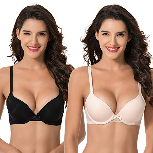 Curve Muse Womens Plus Size Perfect Shape Add 1 Cup Push Up Underwire Tshirt Bra-2PK-PEACH,BLACK-38C