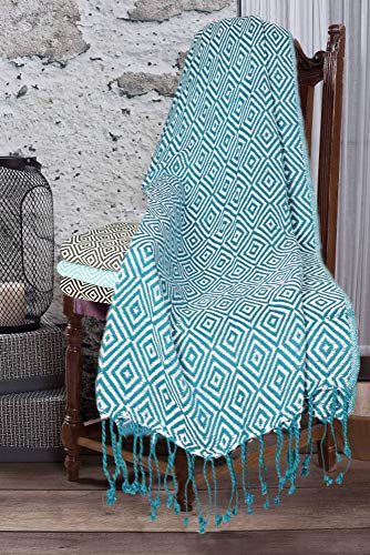 Throw Blanket with Fringes in Diamond Design 50x60 Inch - Teal White Cotton Throw for Sofa, Chair, Bed, Everyday Use, Well Crafted for Durability, Farmhouse Throw,All Season Throw Blanket