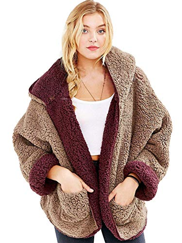 Reversible Fur Coat Faux (PERSUN Women's Reversible Faux Fur Winter Hooded Cardigan Burgundy Coat Long Sleeve Overcoat)