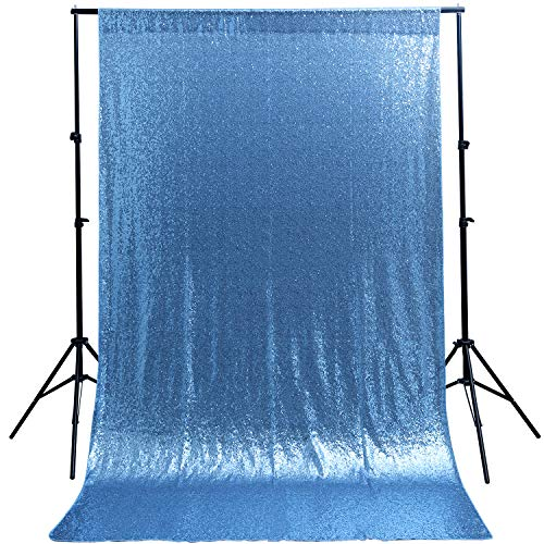 Sequin Backdrop Curtain Baby Blue Glitter Backdrop 4ftx6.5ft Party Photography Background Decoration ()