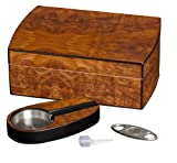 Visol Products VHUD90 ''Exec'' Matte Walnut Cigar Humidor Gift Set with Cutter and Ashtray