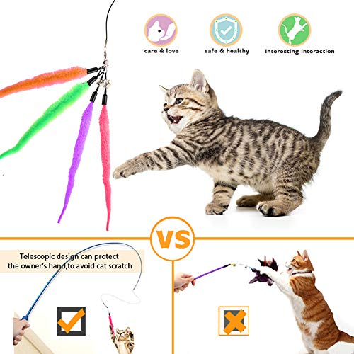 Retractable Cat Toys Wand with 5 Piece Teaser Refills, Interactive Cat Feather Toy for Cat Kitten Having Fun Exerciser Playing 7