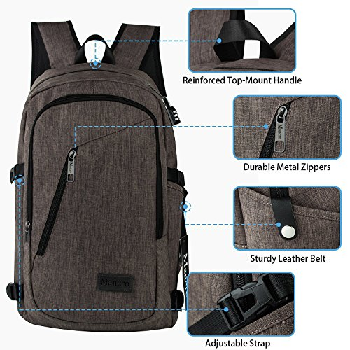 Business Laptop Backpack Mancro 15 15.6 Inch College Backpacks W/USB Charging Port Anti-theft ...