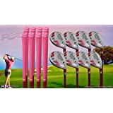 """Senior Ladies iDrive Pink Golf Clubs All Hybrid Set 55+ Years Womens Right Handed Lady Full True Hybrid Complete Rescue Set which Includes: #3 4 5 6 7 8 9 +PW New Rescue Utility """"Senior"""" Flex Club"""