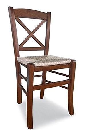 Stuhl Aus Holz Massiv Farbe Walnuss Sitzfläche Aus Stroh Restaurant Haus  Paesana Kreuz Neue Bereits Montiert