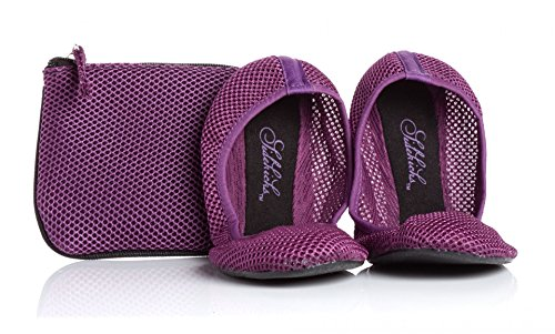 Sidekicks Foldable Ballet Flats with Carrying Case, Purple, X-Large