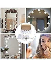 LED Luces espejo,Estilo Hollywood Luces LED,Luces LED Cosmético,10 LED Regulables, iluminación Bulbo Llevado Luces Kit, Maquillaje Lámpara de Baño para Maquillaje Tabla de Aparador (LED Luces)