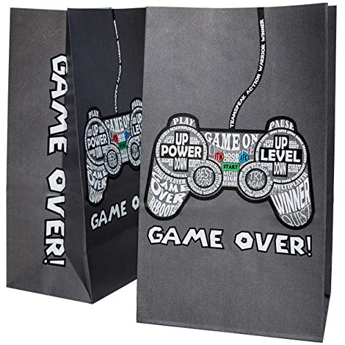 Party Treat Bags - 36-Pack Gift Bags, Gamer Party Supplies, Paper Favor Bags for Birthday Party Goodies, Recyclable Treat Bags for Kids - 5.2 x 8.7 x 3.3 -