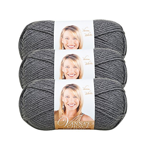 ((3 Pack) Lion Brand Yarn 860-151D Vanna's Choice Yarn, Charcoal Grey)