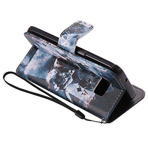 Samsung Tarjetero Para Conector Pu Piel nbsp;flip Cover 7 S7 Función Galaxy De Funda Magnético Flip Libro Marrón Con nbsp;funda 6 Atril Polvo S7 qxw6nC8q