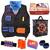Satkago Tactical Vest Kit for Nerf Guns N-Strike Elite Series with 40Pcs Refill Darts, 2 Reload Clips, Tactical Mask, 2 Wrist Band and Target Pouch Storage Carry Equipment Bag