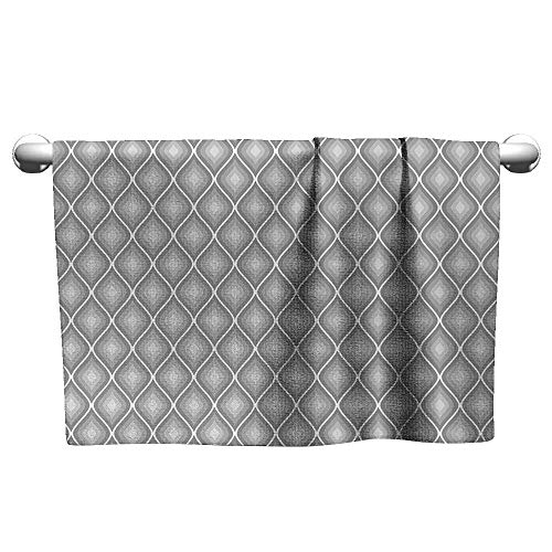 alisoso Grey,Yoga Towels Rhombus Forms in Victorian Stylized Authentic Dual Linked Bound Interior Angle Shapes Art Bath Towels for Kids White W 35