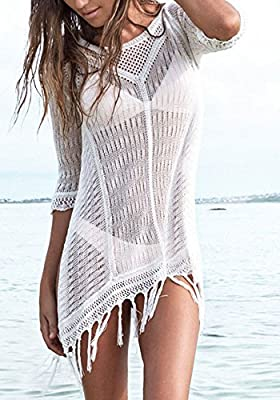 KingsCat Stylish Crochet Tassel Beachwear Bikini Swimsuit Cover up