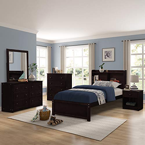 Platform Twin Wood Bed Frame with Headboard and Bookcase, Extra Long Wooden Support Slats Bed Frame, Espresso Finish by Harper&Bright Designs