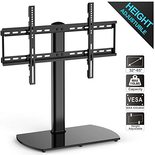 Fitueyes Universal TV Stand/ Base Tabletop TV Stand with Wall Mount for 32 to 65 inch Flat screen Tvs Vizio/Sumsung/Sony Tvs/xbox One/tv components TT107001GB