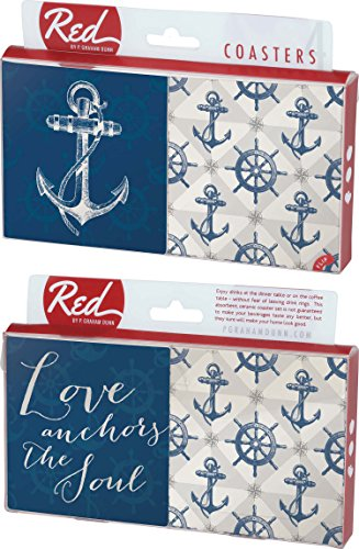 Love Anchors the Soul Nautical Sailing 4 Piece Absorbent Ceramic Coaster ()